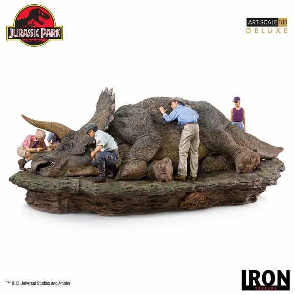 VORBESTELLUNG ! Jurassic Park Deluxe Art Scale 1/10 Triceratops 74 cm Diorama