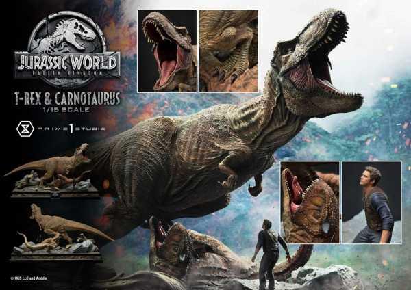 AUF ANFRAGE ! Jurassic World: Fallen Kingdom 1/15 T-Rex & Carnotaurus 90 cm Statue