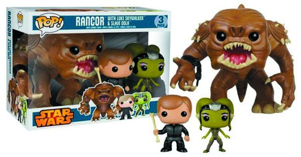 POP STAR WARS 15 cm RANCOR WITH LUKE & SLAVE OOLA PX VINYL FIGUREN 3-PACK defekte Verpackung