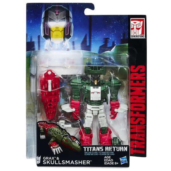 TRANSFORMERS GENERATIONS TITANS RETURN DELUXE CLASS GRAX & SKULLSMASHER ACTIONFIGUR