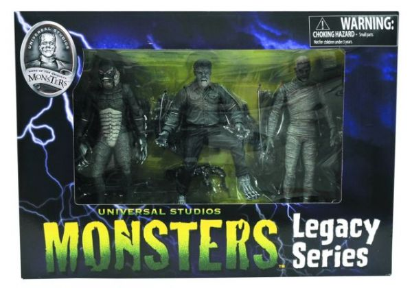 UNIVERSAL MONSTERS SERIES 1 WOLFMAN MUMMY CREATURE BLACK & WHITE ACTIONFIGUREN