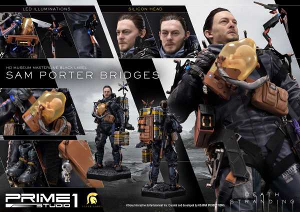 VORBESTELLUNG ! Death Stranding Black Label 1/2 Sam Porter Bridges 106 cm Statue