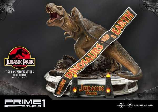 VORBESTELLUNG ! Jurassic Park 1/8 T-Rex vs Velociraptors in the Rotunda 65 cm Diorama