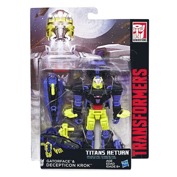 TRANSFORMERS TITANS RETURN DELUXE GATORFACE & DECEPTICON KROK ACTIONFIGUR