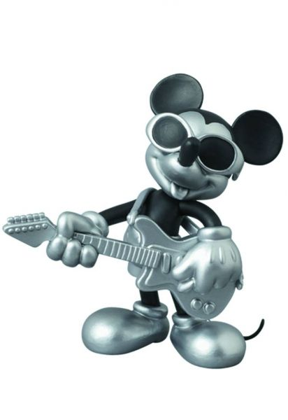 DISNEY X ROEN COLLECTION GUITAR MICKEY ULTRA DETAIL FIGURE BLACK & SILVER VERSION 10cm FIGUR
