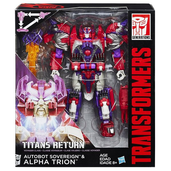 TRANSFORMERS GENERATIONS TITANS RETURN VOYAGER CLASS SOVEREIGN & ALPHA TRION ACTIONFIGUR