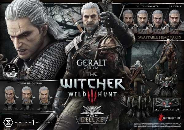 VORBESTELLUNG ! Witcher 3 Wild Hunt 1/3 Geralt von Riva 88 cm Statue Deluxe Version
