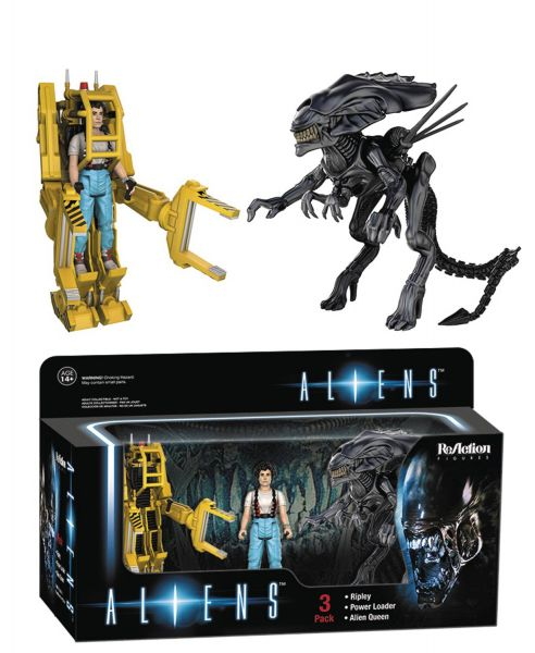 REACTION ALIENS 3-PACK RIPLEY WITH POWER LOADER & ALIEN QUEEN