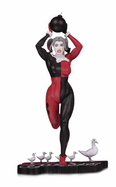 HARLEY QUINN RED WHITE & BLACK STATUE BY FRANK CHO