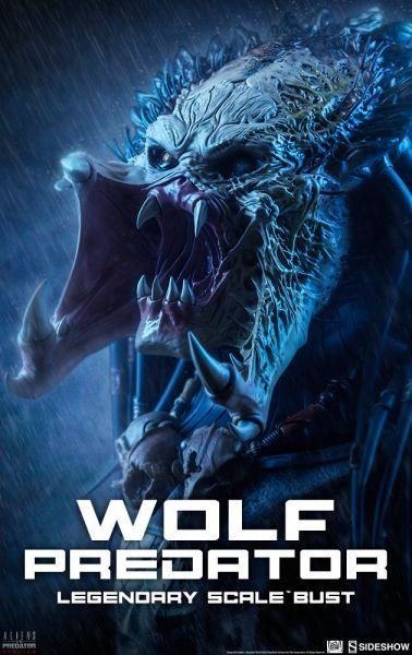 SIDESHOW ALIEN VS. PREDATOR - WOLF PREDATOR BUST EXCLUSIVE / LEGENDARY SCALE