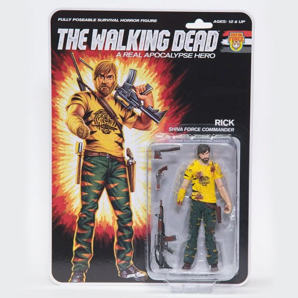 THE WALKING DEAD - A REAL APOCALYPSE HERO RICK SHIVA FORCE COMMANDER ACTIONFIGUR BLOODY VERSION