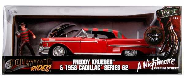VORBESTELLUNG ! A NIGHTMARE ON ELM STREET FREDDY KRUEGER & 1958 CADILLAC 1:24 DIECAST MODELL & FIGUR