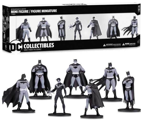BATMAN BLACK & WHITE MINI PVC FIGUREN 7 PACK SET 1