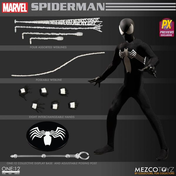 ONE-12 COLLECTIVE MARVEL SPIDER-MAN BLACK VERSION PX ACTIONFIGUR